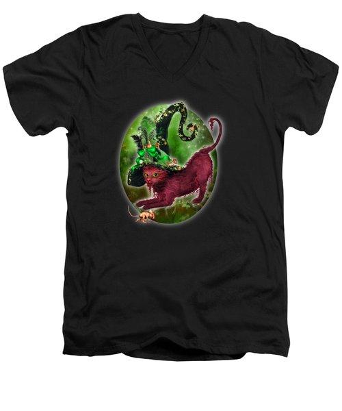 Cat In Fancy Witch Hat 2 Men's V-Neck T-Shirt