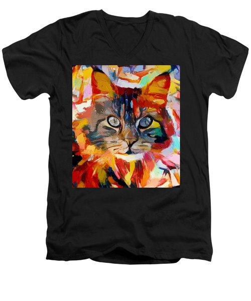 Cat In Fire Men's V-Neck T-Shirt