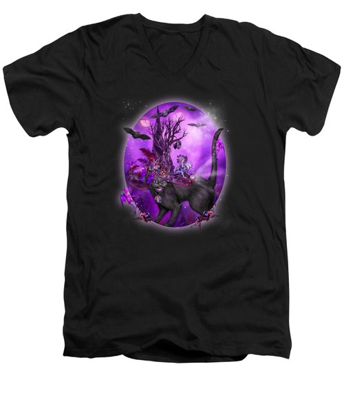 Cat In Goth Witch Hat Men's V-Neck T-Shirt