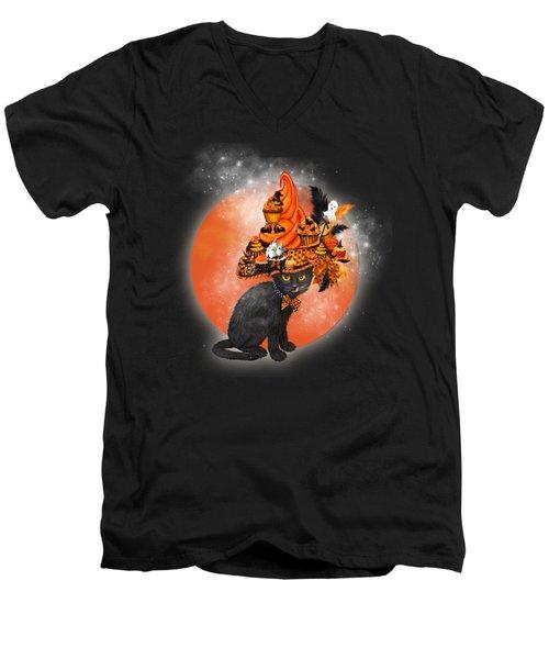 Cat In Halloween Cupcake Hat Men's V-Neck T-Shirt by Carol Cavalaris