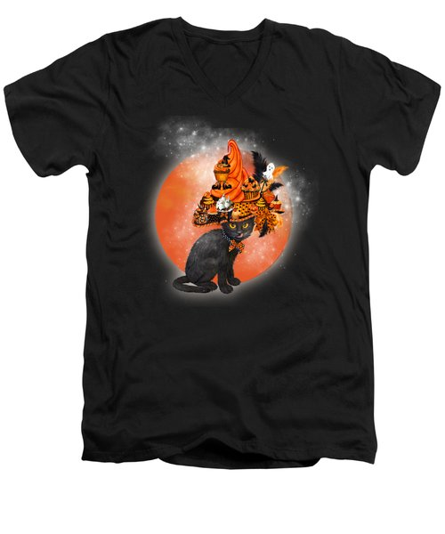 Cat In Halloween Cupcake Hat Men's V-Neck T-Shirt