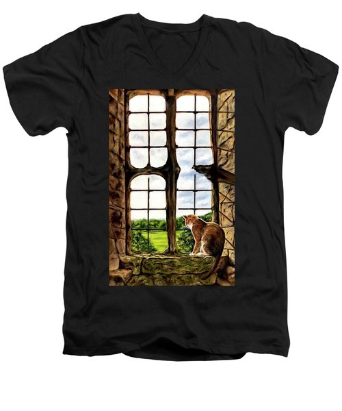 Cat In The Castle Window-close Up Men's V-Neck T-Shirt