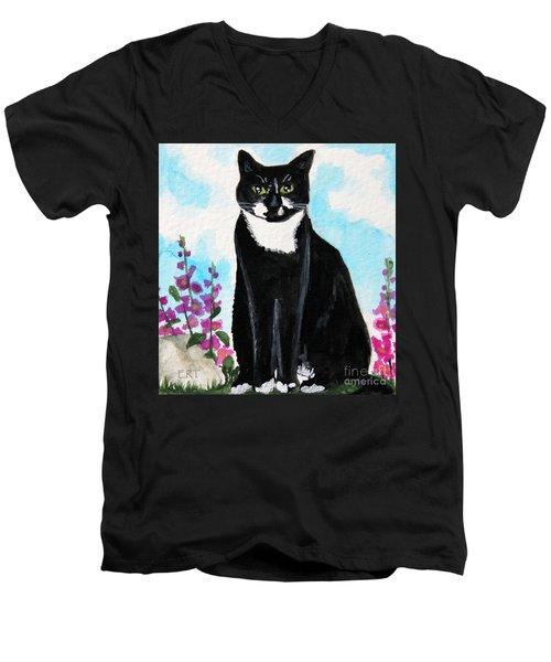Cat In The Garden Men's V-Neck T-Shirt