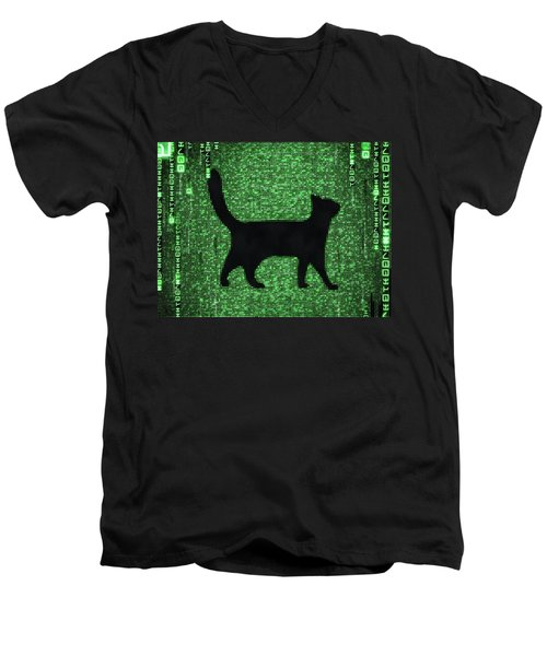 Men's V-Neck T-Shirt featuring the digital art Cat In The Matrix Black And Green by Matthias Hauser