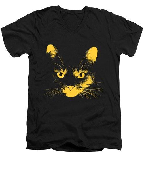 Cat Stare With Transparent Background Men's V-Neck T-Shirt