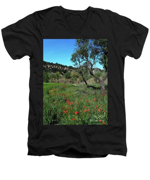 Catalan Countryside In Spring Men's V-Neck T-Shirt by Don Pedro De Gracia