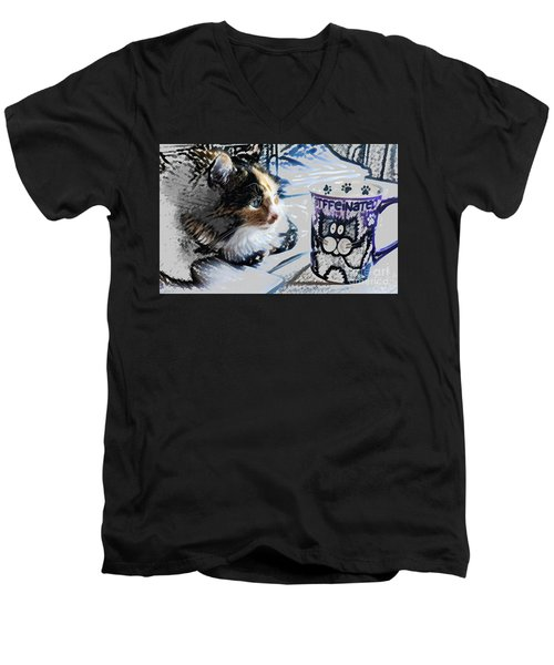 Catfinated Kitty Men's V-Neck T-Shirt by Deborah Nakano