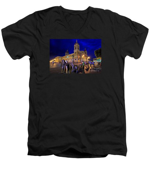 Cathedral Of Granada Shines Brightly Men's V-Neck T-Shirt