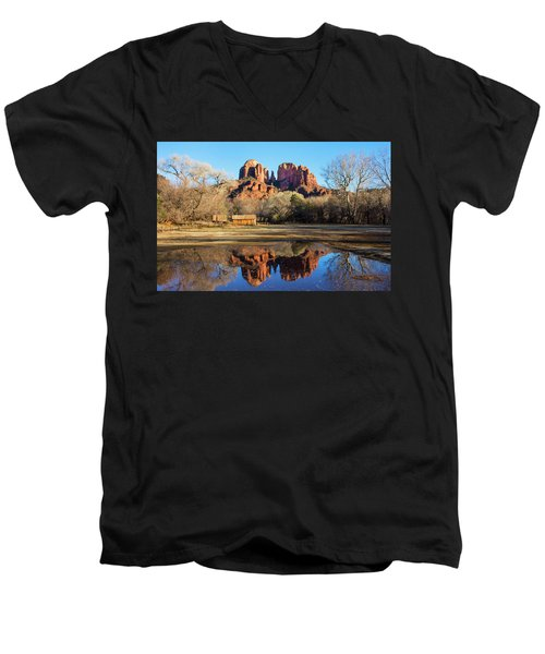 Men's V-Neck T-Shirt featuring the photograph Cathedral Rock, Sedona by Barbara Manis