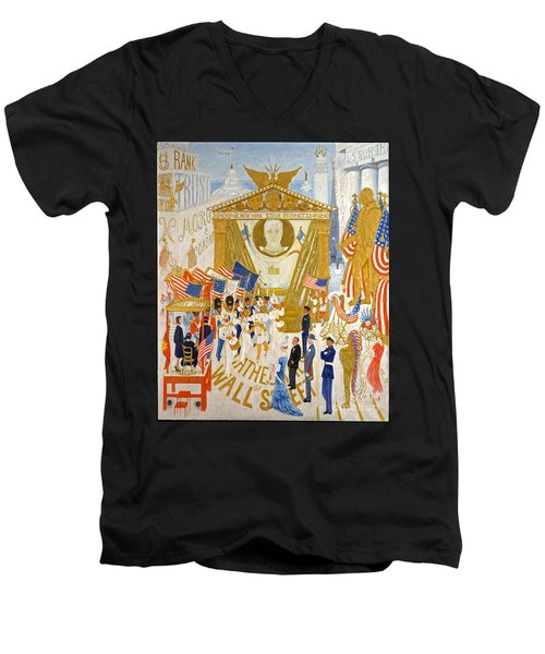 The Cathedrals Of Wall Street - History Repeats Itself Men's V-Neck T-Shirt by John Stephens