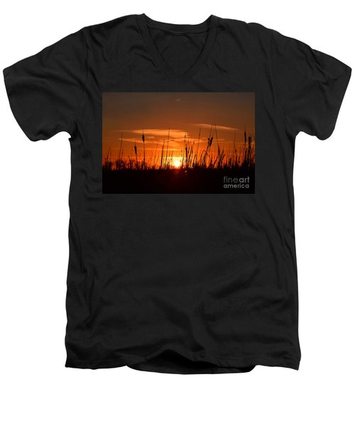 Cattails And Twilight Men's V-Neck T-Shirt