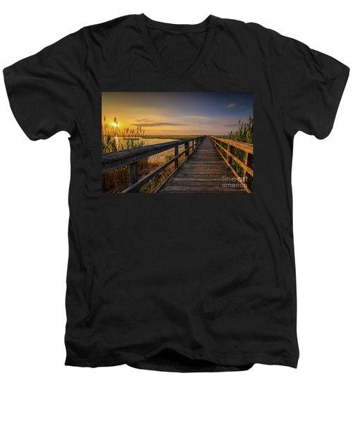 Cedar Beach Pier, Long Island New York Men's V-Neck T-Shirt