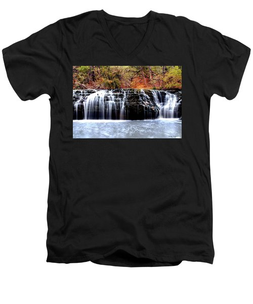 Cedar Creek Falls, Kansas Men's V-Neck T-Shirt