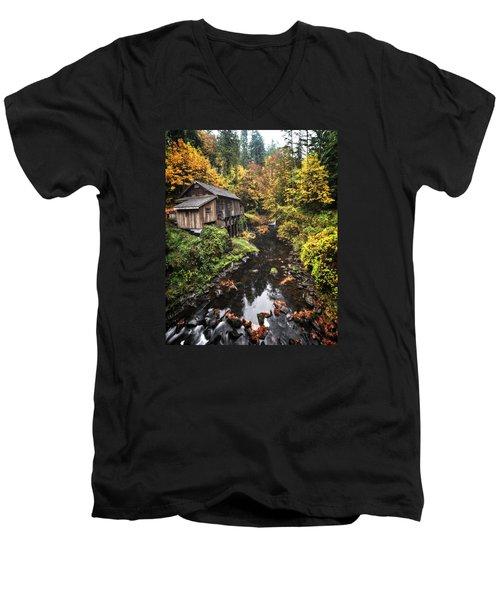 Cedar Creek Grist Mill Color Burst Men's V-Neck T-Shirt