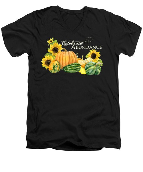 Celebrate Abundance - Harvest Fall Pumpkins Squash N Sunflowers Men's V-Neck T-Shirt
