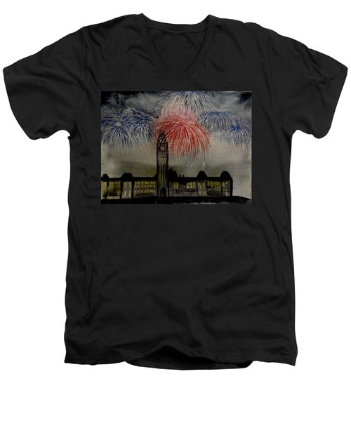 Celebrate Men's V-Neck T-Shirt by Betty-Anne McDonald