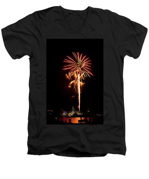 Men's V-Neck T-Shirt featuring the photograph Celebration Fireworks by Bill Barber