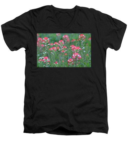 Celebration Of Paintbrushes Men's V-Neck T-Shirt by Carolina Liechtenstein