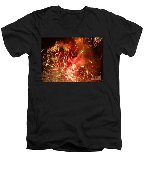 Celebratory Fireworks And Firecrackers Light Up The Sky Men's V-Neck T-Shirt