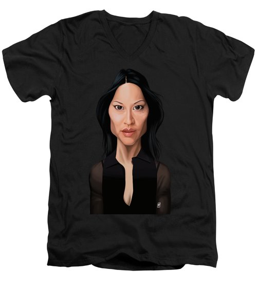 Celebrity Sunday - Lucy Liu Men's V-Neck T-Shirt