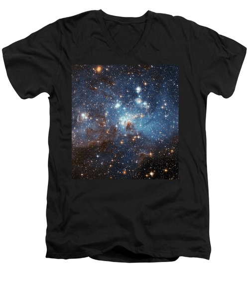 Men's V-Neck T-Shirt featuring the photograph Celestial Season's Greetings From Hubble by Nasa
