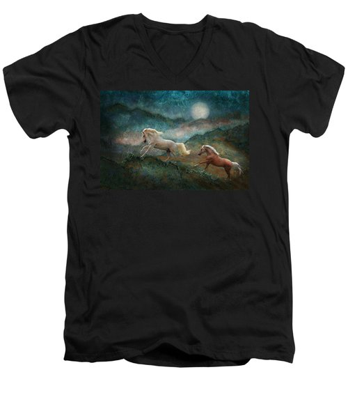 Celestial Stallions Men's V-Neck T-Shirt by Melinda Hughes-Berland