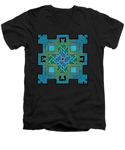 Men's V-Neck T-Shirt featuring the mixed media Celtic Castle by Kristen Fox