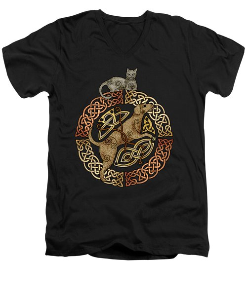 Celtic Cat And Dog Men's V-Neck T-Shirt by Kristen Fox
