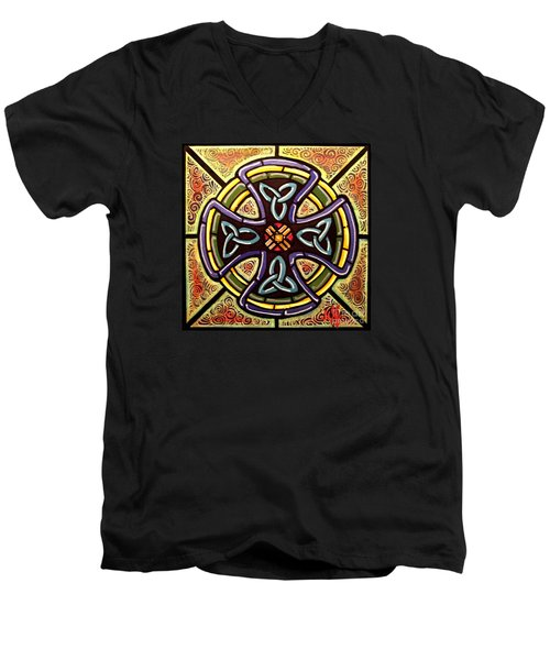 Men's V-Neck T-Shirt featuring the painting Celtic Cross 2 by Jim Harris