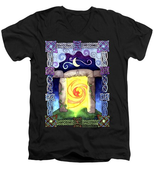 Men's V-Neck T-Shirt featuring the painting Celtic Doorway by Kristen Fox