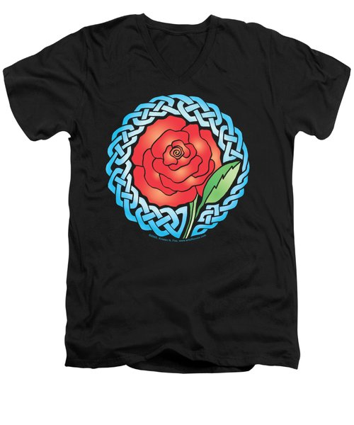 Men's V-Neck T-Shirt featuring the mixed media Celtic Rose Stained Glass by Kristen Fox