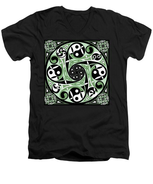 Men's V-Neck T-Shirt featuring the mixed media Celtic Spiral Stepping Stone by Kristen Fox