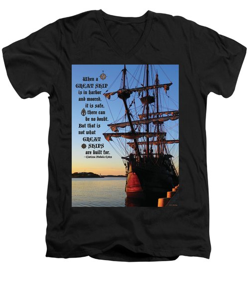 Celtic Tall Ship - El Galeon In Halifax Harbour At Sunrise Men's V-Neck T-Shirt