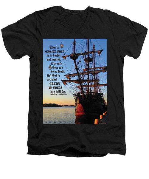 Celtic Tall Ship - El Galeon In Halifax Harbour At Sunrise Men's V-Neck T-Shirt