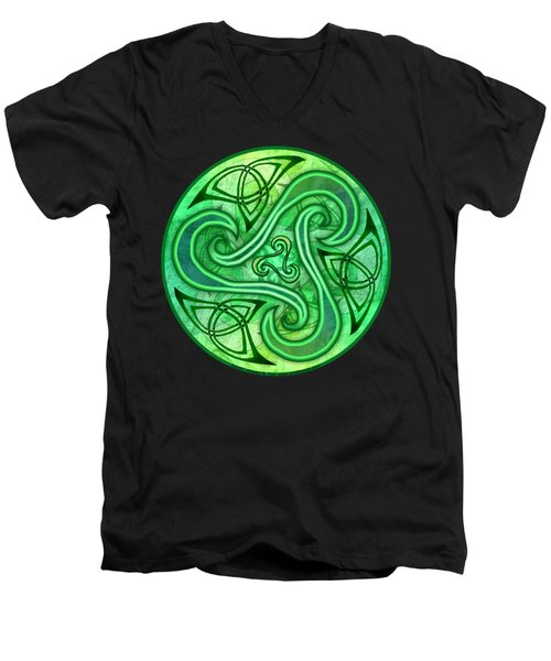 Men's V-Neck T-Shirt featuring the mixed media Celtic Triskele by Kristen Fox