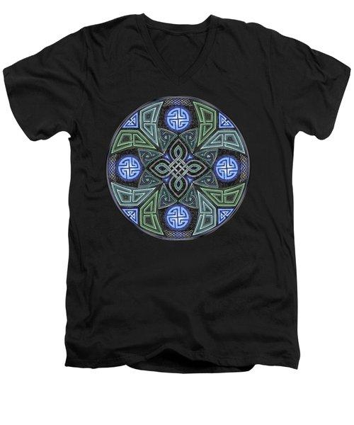 Celtic Ufo Mandala Men's V-Neck T-Shirt by Kristen Fox