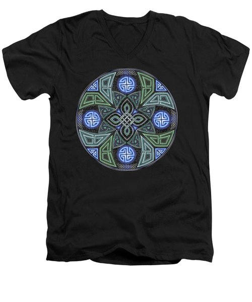 Celtic Ufo Mandala Men's V-Neck T-Shirt