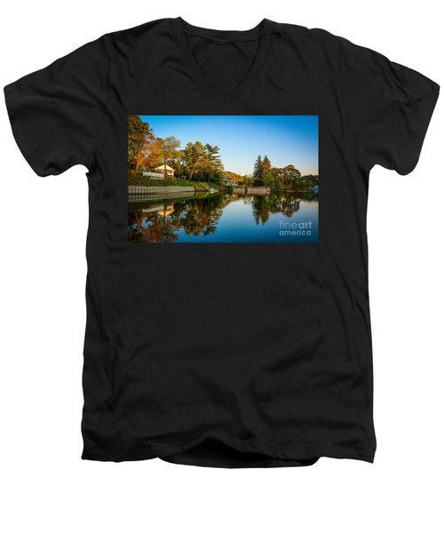 Centerport Harbor Autumn Colors Men's V-Neck T-Shirt