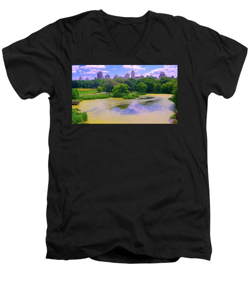 Central Park And Lake, Manhattan Ny Men's V-Neck T-Shirt