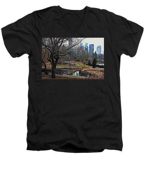 Central Park In January Men's V-Neck T-Shirt by Sandy Moulder