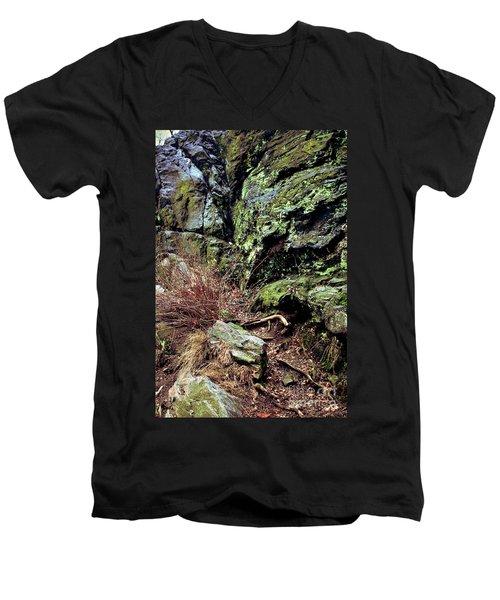 Central Park Rock Formation Men's V-Neck T-Shirt by Sandy Moulder