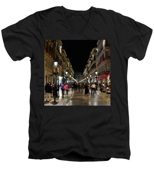 Centro De Malaga By Night - #ig_malaga Men's V-Neck T-Shirt