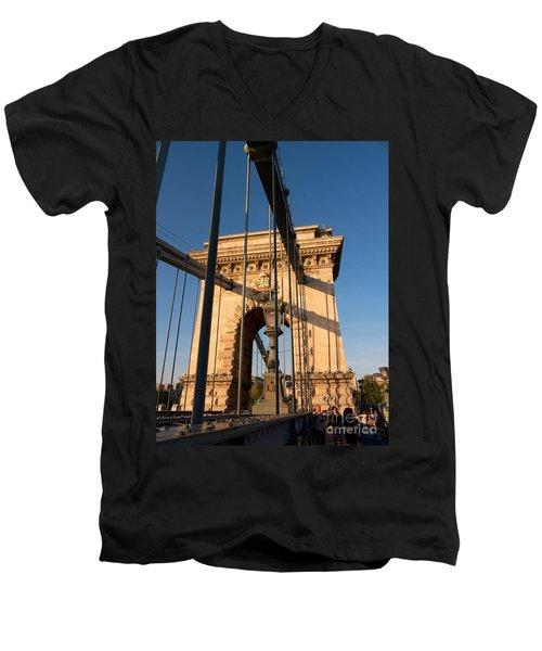 Chain Bridge Budapest  Men's V-Neck T-Shirt