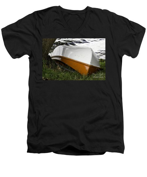 Men's V-Neck T-Shirt featuring the photograph Chained Little Boat Just Waiting by Yurix Sardinelly