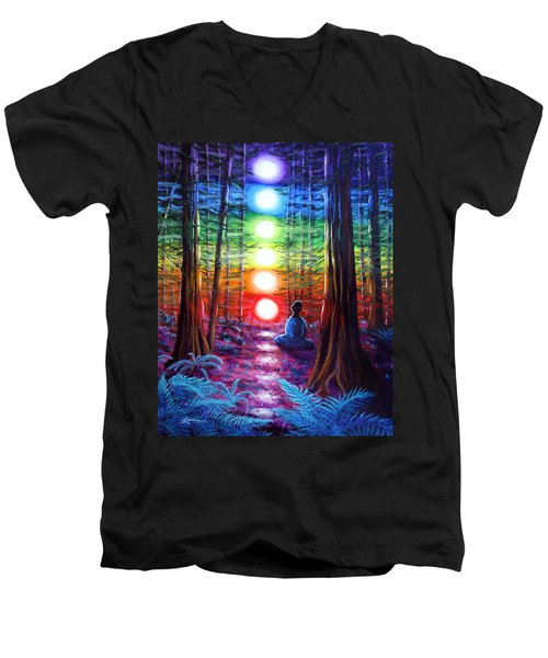 Chakra Meditation In The Redwoods Men's V-Neck T-Shirt by Laura Iverson