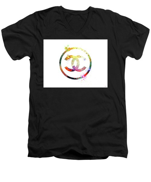 Chanel Logo Men's V-Neck T-Shirt