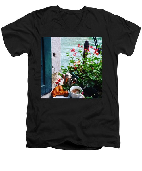 Chanel View Breakfast In Venezia Men's V-Neck T-Shirt by Tamara Sushko