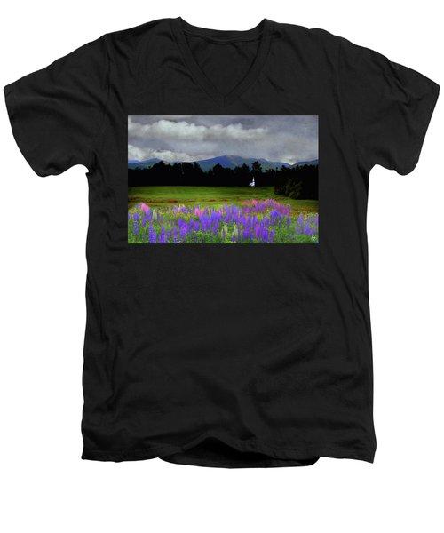 Chapel In The Lupine Mindscape Men's V-Neck T-Shirt