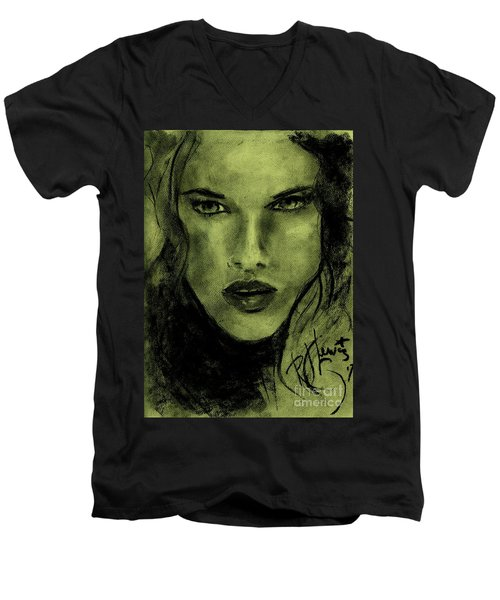 Men's V-Neck T-Shirt featuring the drawing char-Carol by P J Lewis