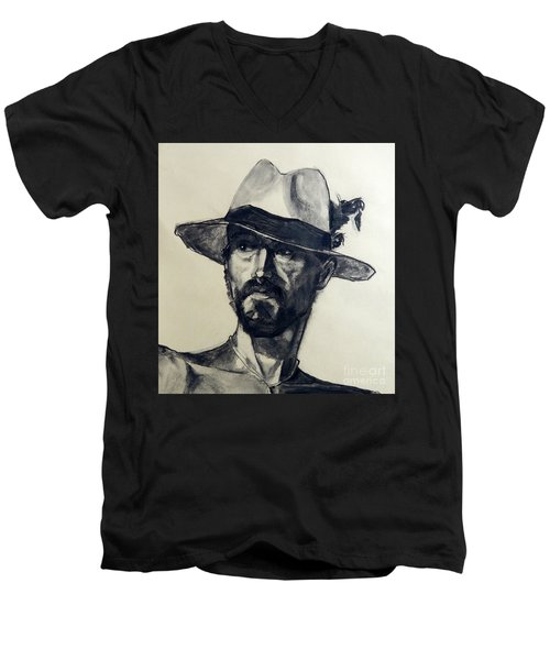 Charcoal Portrait Of A Man Wearing A Summer Hat Men's V-Neck T-Shirt